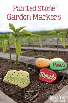 Brighten up your garden with these fun DIY Painted Stone Garden Markers.