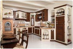 cucina classica in muraturaluisa Kitchen Shelves, Diy Kitchen, Kitchen Design, Kitchen Storage, Tv Built In, Mexican Kitchens, Concrete Kitchen, Built In Cabinets, White Furniture