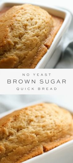 This brown sugar bread recipe is full of flavor and incredibly easy to make. A no yeast bread made with staple ingredients and just 5 minutes hands-on time! #quickbread #bread #noyeast No Yeast Bread, Sugar Bread, Yeast Bread Recipes, Quick Bread Recipes, Bread Machine Recipes, Easy Bread, Bread Baking, Sweet Recipes, Cooking Recipes