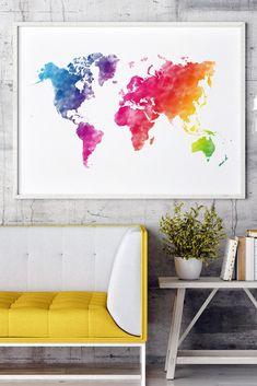 Rainbow world map, world map decor in rainbow colors, colorful world map worldmap rainbow rainbowcolors walldecor World Map Decor, World Map Wall Art, World Map Wallpaper, Living Room Decor Inspiration, Water Color World Map, Rainbow Wall, Modern Wall Decor, Art Challenge, Rainbow Colors