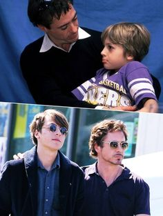 Robert Downey Jr. and his son Indio; I'd say good looks run in the family :P