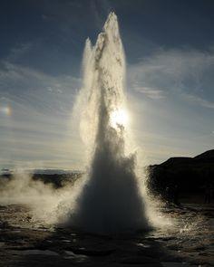 Strokkur geyser, in full eruption.