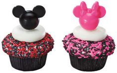 Mickey and Minnie Mouse Pink and Black Cupcake Picks - 24 ct. 24 assorted black and pink Mickey and Minnie cupcake picks. Minnie Mouse Cupcake Toppers, Black Cupcakes, Mickey Mouse Cupcakes, Minnie Mouse Pink, Mickey Minnie Mouse, Disney Mickey, Disney Pics, Disney Food, Mickey Mouse Party Supplies