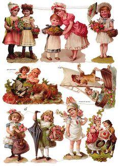 German Victorian Style Embossed Scrap Die Cut - Children w/Fanciful Hats Vintage Labels, Vintage Ephemera, Vintage Paper, Vintage Postcards, Vintage Art, Victorian Valentines, Vintage Valentines, Vintage Pictures, Vintage Images