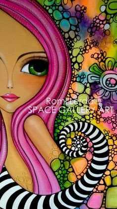 obra pictorica de romi lerda - Cerca con Google Images D'art, Art Fantaisiste, Inspiration Art, Arte Popular, Whimsical Art, Fabric Painting, Portrait Art, Face Art, Art Pictures