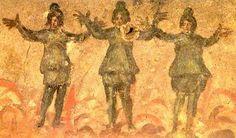 *** Los tres hebreos en el Horno de fuego (libro de Daniel). Arte paleocristiano. Catacumbas de Priscila, S.III. Roma.