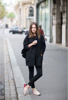 Black on black + boxy coat + sneakers