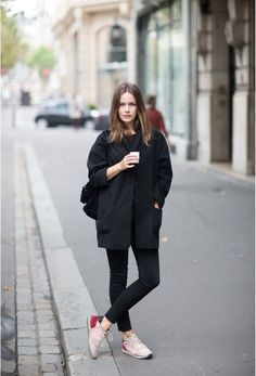 Black on black + boxy coat + sneakers