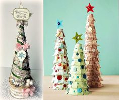 These artificial Christmas trees are maybe the easiest to make: use music sheet paper, scrapbook paper with jolly patterns, newspaper, vintage and colorful paper or plain off white paper and apply it on cardboard cone shaped forms. Decorate with bows, buttons and glitter to make this little trees even more special.