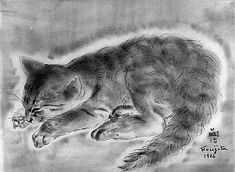 Tsuguharu Foujita  (French, born Japan, Tokyo 1886–1968 Zurich) - Cat, 1926 - Ink on paper - The Metropolitan Museum of Art, NY