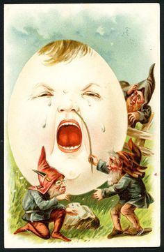 Antique Vintage 1903 Easter Postcard Gnomes Tickling a Crying Anthropomorphic Egg
