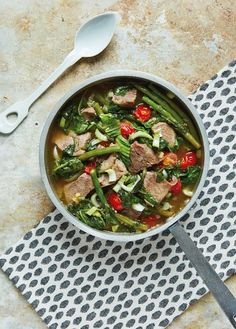 Sinigang is a hearty and stew-like soup containing large chunks of meat or seafood and seasonal vegetables. This slow-cooked recipe from the Hemsley sisters' Good + Simple uses beef and has a wonderful sour and savoury taste from the tamarind and ginger. Delicious served as a one-pot dish, it also goes well with cauliflower rice or courgetti.