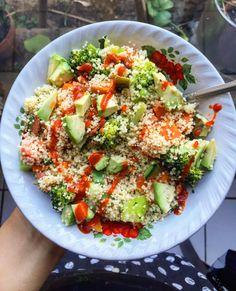 Yum! Couscous salad with avo, sweet potato, broccoli, zucchini, tomatoes…