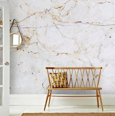 Graham & Brown Milano Marble Wall Mural Wallpaper - Home Decor - For The Home - Macy's Look Wallpaper, Rose Gold Wallpaper, Cream Wallpaper, Wallpaper Murals, Modern Bedroom Design, Home Interior Design, Marble Interior, Back To Nature, Marble Wall