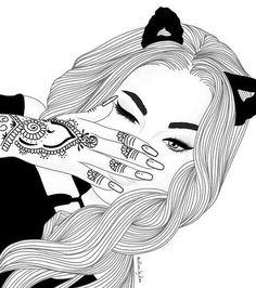 grafika girl, draw, and outline Tumblr Girl Drawing, Tumblr Sketches, Tumblr Art, Drawing Sketches, Cute Drawings Of Girls, Cool Drawings Tumblr, Hipster Drawings, Couple Drawings, Drawing Faces