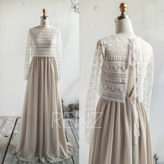 Bridesmaid Dress White Sand Prom Dress Long Sleeves Illusion Lace Shawl Two Piece Separate Wedding Dress Spaghetti Strap Chiffon - Wedding Dresses Lace Prom Dresses Long With Sleeves, Dress Long, Chiffon Dresses, Fall Dresses, Long Dresses, Lace Dress, Formal Dresses, Kebaya Modern Dress, Dress Brokat Modern