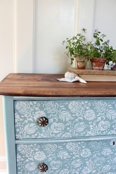 A lovely stenciled dresser finished in Duck Egg Blue  Old White Chalk Paint® decorative paint by Annie Sloan | By Finding Silver Pennies