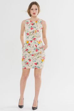 Suzy Shier Floral Print Pocketed Sheath Dress