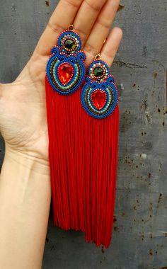 Unique Earrings, Bead Earrings, Beautiful Earrings, Earrings Handmade, Cute Jewelry, Beaded Jewelry, Soutache Necklace, Earring Trends, Denim And Lace