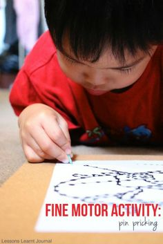 Use pin pricking activities to help children build up their fine motor skills. via Lessons Learnt Journal