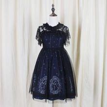 Sky Konstellation Gothic Lolita Kleid dunkelblau Jsk Schleier Tunika Nacht Engel Muster Kurzarm Kleider Mädchen Sweety Geschenke(China (Mainland))