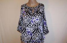 SIGNATURE by LARRY LEVINE Shirt Top Blouse 3/4 Cut Out Sleeve Elastic Waist Sz M #LarryLevine #Blouse #Casual