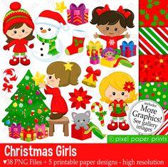 Christmas Girls - Christmas clipart - Clip Art and Digital paper set