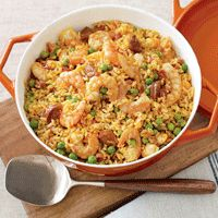 Shrimp and Chorizo Paella. I use turkey smoked sausage and yellow rice in this recipe.