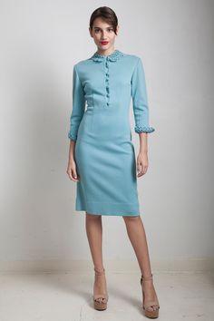 vintage 60s sweater dress blue wool crochet Peter Pan collar trims SMALL MEDIUM S M