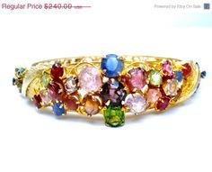 Sale Gemstone Bangle Gold Plated Bracelet Hinged Vintage by TheJewelryLadysStore on Etsy https://www.etsy.com/listing/195849590/sale-gemstone-bangle-gold-plated