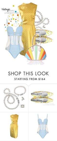 """""""Vintage"""" by interesting-times ❤ liked on Polyvore featuring Mikimoto, Versani, La Perla, vintage and prettyunderpinnings"""