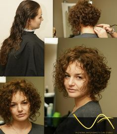 stacked bob with some length in front--nice perm style shown from all angles