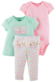 Child of Mine by Carter's Baby Girl Swing Shirt, Bodysuit, and Pants, 3pc Outfit Set #babygirl, #promotion