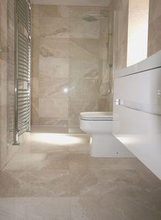 Cream Bathroom Wall And Floor Tiles Beige Tile Bathroom, Marble Bathroom Floor, Cream Bathroom, Travertine Bathroom, Bathroom Flooring, Marble Floor, Marble Bathrooms, Tile Floor, Gray Bathrooms