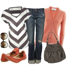 """Great Top (The Downward Stripes Flatter the Bust And Tummy!!), A """"Neutral"""" B & W Top, A Pastel Light Sweater, Great Jeans, and Crinkle Flats (Which I'd Probably Swap For Heels)...The Bag is Super Great Too (I Bet It Even Has a Middle Zipper!!)...Love This Look"""