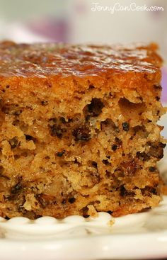 Greek Walnut Cake Recipe from Jenny Jones (JennyCanCook.com) - Greek karithopita is a sweet, moist cake spiced with citrus peels, cinnamon, and cloves and infused with a sweet syrup. And it's made with olive oil! #JennyCanCook