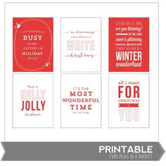 Christmas Song Lyric Card Printable by Two Peas - Two Peas in a Bucket