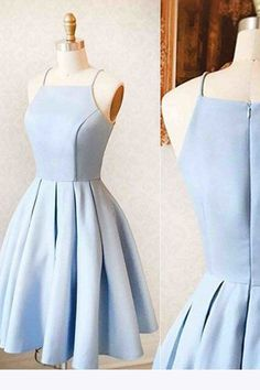 Satin Light blue Simple Short Prom Dress,Mini Homecoming