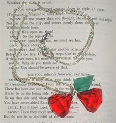 Giant Red Cherry Gem Rockabilly Necklace Green Leaf Pendant Silver Chain Charms