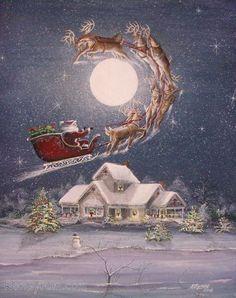 Folk Art Christmas Santa Sleigh Reindeer PRINT Snow House with Lights Byrum Art MHATeam