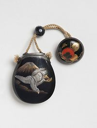 Japanese Inro in the Form of an Eggplant with Mount Fuji and a Falcon Edo Period (1615-1868), Early 18th century  Artist/maker unknown,  Inro: lacquer on wood; silver lid and collar ~ Netsuke: lacquer on wood