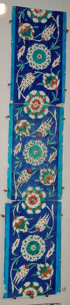 From undulating scroll border. Stylised tulip fritillaries and composite lotuses. Made of cobalt, turquoise, red (bole) painted and stencilled and glazed ceramic, pottery. © The Trustees of the British Museum Glazes For Pottery, Pottery Art, Ceramic Pottery, Turkish Tiles, Turkish Art, Clay Tiles, Mosaic Tiles, Arabesque Pattern, Batik