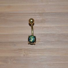 Green Simulated Opal Round Shape Prong Gold Belly by BlingYourBody Belly Button Piercing Rings, Gold Belly Button Rings, Different Ear Piercings, Types Of Piercings, Body Necklace, Necklace Types, Stainless Steel Plate, Body Piercing, Navel Piercing