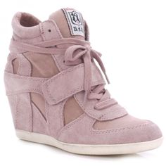 Ash BOWIE cipria suede & canvas high-top wedge trainers