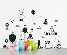 Wall sticker on pinterest wall stickers decals and stickers for Autocollant dcoratif mural