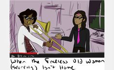 When the faceless old woman isn't home