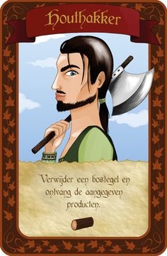 Illustrated card of the boardgame 'De Poorters van Nieuwstad' by 999 Games. Made by Mietta Várszegi as a job shadow assignment.