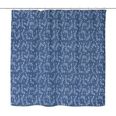 Blue Floral Fabric Shower Curtain