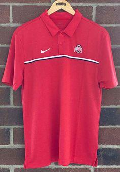 Nike Ohio State Buckeyes Mens Red Team Issue Short Sleeve Polo - 12555445 Nike Ohio State, Ohio State University, Ohio State Buckeyes, Oklahoma Sooners, Red Team, Professional Wardrobe, Short Sleeve Polo Shirts, Team Logo, Sleeves