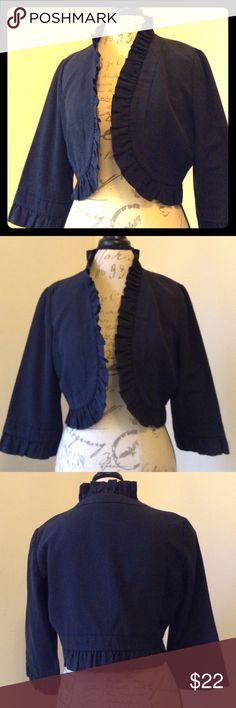 Ann Taylor LOFT ruffled bolero jacket 60% cotton 40% polyester lining 100% acetate black 3/4 sleeve jacket with ruffle along trim and sleeves. LOFT Jackets & Coats